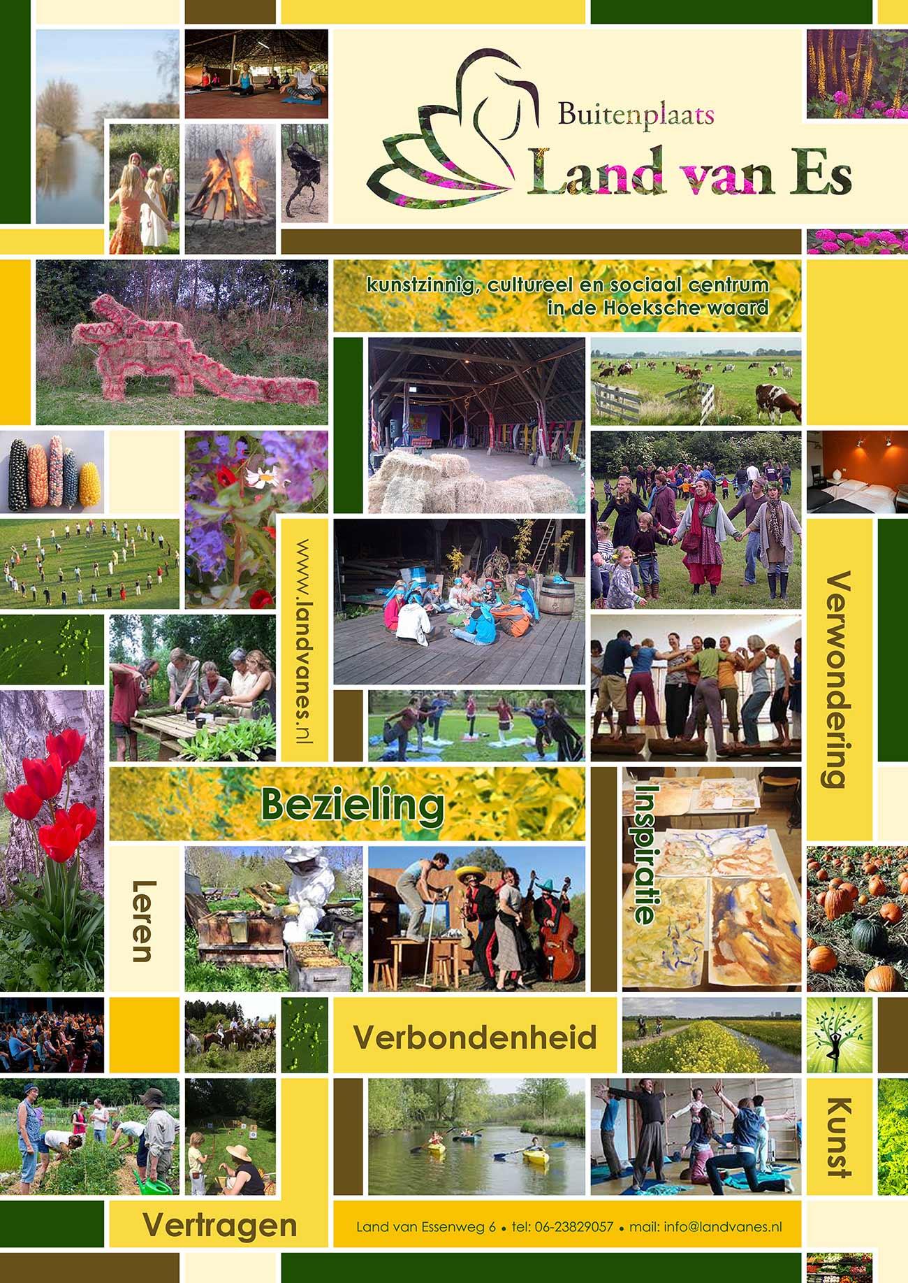 Kernwaarden Land van Es, bezieling, verbondenheid, verwondering, leren vertragen d.m.v. een collage in beeld gebracht